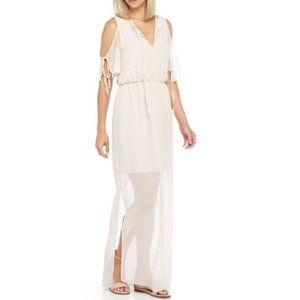 Charles Henry | Tie Sleeve Champagne Maxi Dress